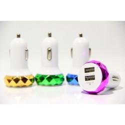 АЗУ, ромб в цветах (2 USB)( 2 A), Mix Color