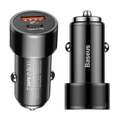 Адаптер зарядки в прикуриватель Baseus (CAXLD-A01) Small Screw Type-C PD (3.4 A), black