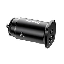 Адаптер зарядки в прикуриватель Baseus (CCALL-AS01) Square Metal USB-Type C (4.5 A), black